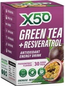 X50 Green Tea + Resveratol Passionfruit 30 Sachets