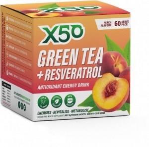 X50 Green Tea + Resveratol Peach 60 Sachets