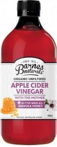 Barnes Naturals Organic Apple Cider Vinegar & The Mother w/Active Manuka 5+ Honey 500ml