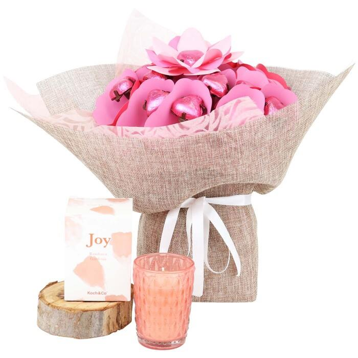 Image of Mothers Day Candle & Magical Blush Rose Bouquet