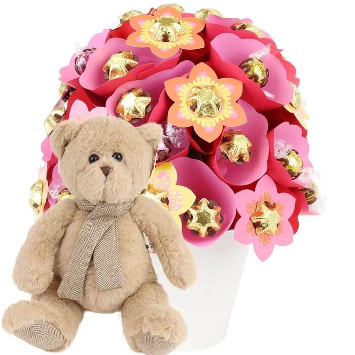 Image of Mothers Day Sunrise Grand Arrangement and Bear Baby Gift