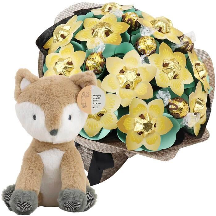 Image of Mothers Day Golden Bouquet and Fox Grand Baby Gift
