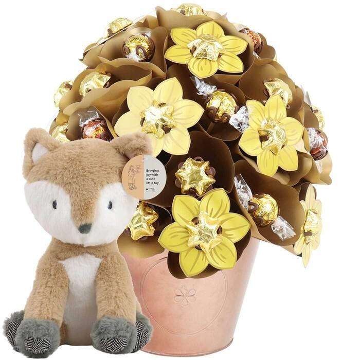 Image of Mothers Day Golden Grand Arrangement and Fox Baby Gift