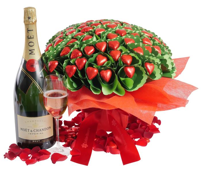 Image of Mothers Day Moet Magnum Chocolate Bouquet Romance Gift