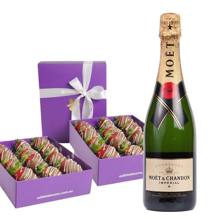 Image of Mothers Day Moet & Two Dozen Choc-Dipped Strawberries