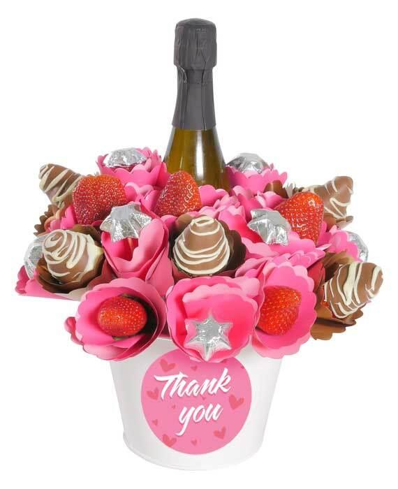 Image of Mothers Day Thank You Strawberry Sparkling Chocolate Bouquet