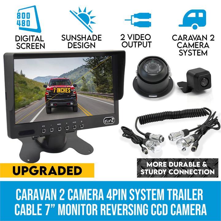 "Image of Elinz Caravan 2x Camera Reversing 4PIN CCD Kit System Trailer Cable 7"" Monitor HD 12V/24V Black"