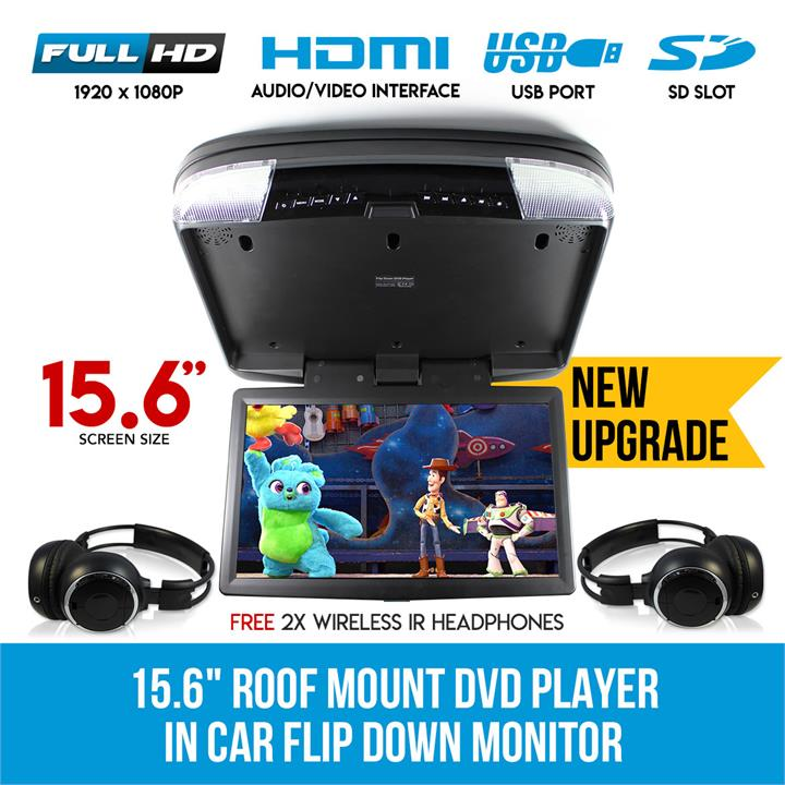 "Image of 15.6"" DVD player Roof mount In Car Flip Down Monitor HDMI suit 12V/24V vehicle"