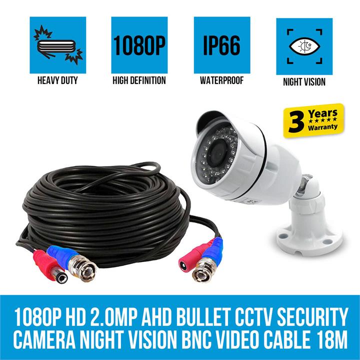 Image of Elinz 1080P HD 2.0MP AHD Bullet CCTV Security Camera Night Vision BNC Video Cable 18M