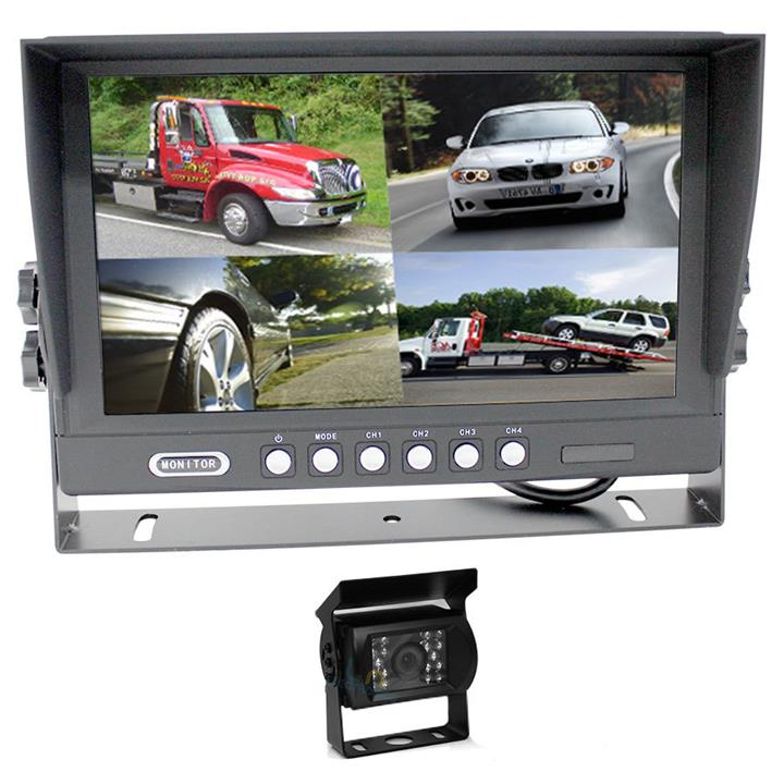 """Image of Elinz 9"""" Splitscreen Monitor 4PIN Colour CCD IR Rearview Reversing 1x Camera Package"""