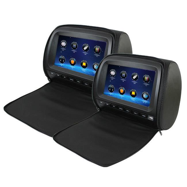 "Image of Elinz 2x 9"" Full HD 1080P Touch Screen Car Headrest DVD Player BLACK"