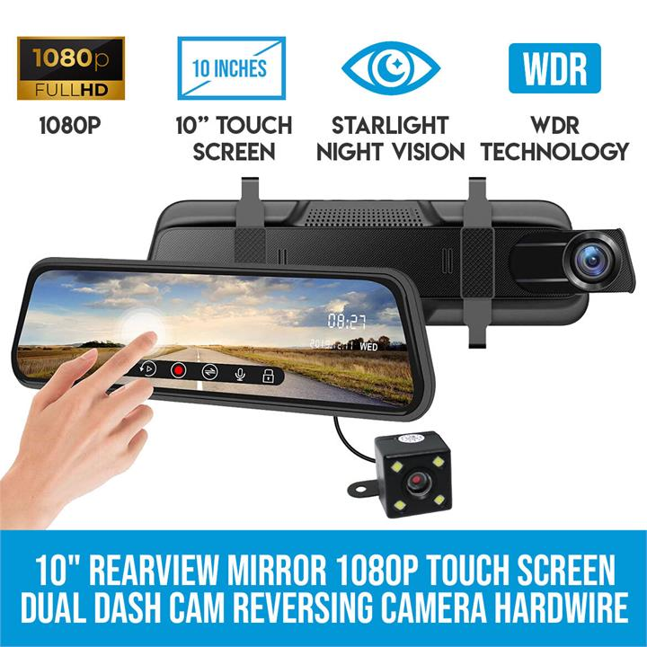 """Image of Elinz 10"""" Rearview Mirror 1080P Full Touch Screen Car Dual Dash Cam Reversing Camera Recorder Hardwire Kit"""
