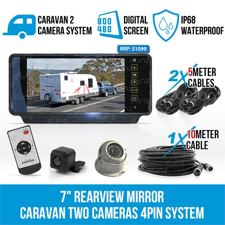 "Image of 7"" Rearview Mirror Monitor Caravan 2 Reversing Camera 4PIN System Kit CCD Elinz"