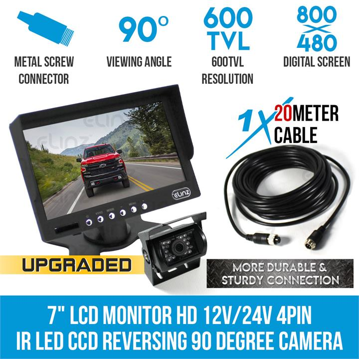 "Image of 7"" HD LCD Monitor 12V/24V IR CCD 4PIN Car Reversing Camera Truck Caravan"