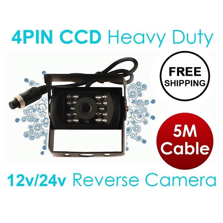 Image of 4 PIN Heavy Duty 12V 24V CCD IR Colour Reverse Reversing Camera Rearview 5M