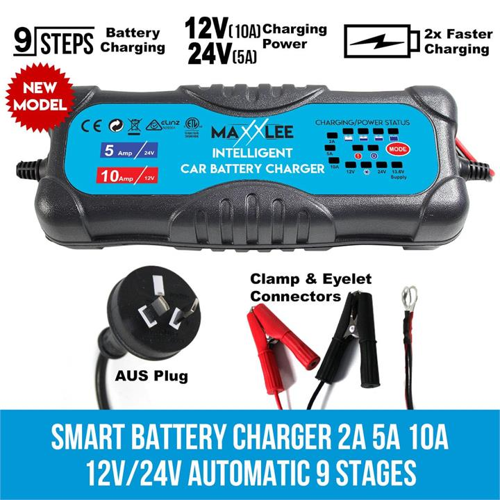 Image of Maxxlee Smart Battery Charger 2A 5A 10A 12V/24V Automatic 9 stages SLA Car 4WD Caravan