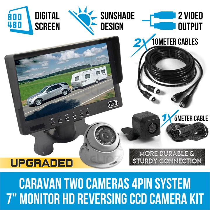 "Image of Caravan Two Camera 4PIN System 7"" Monitor HD 12V/24V Reversing CCD Camera Kit"