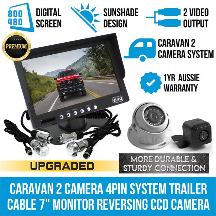 "Image of Caravan Two Camera 4PIN System Trailer cable 7"" Monitor HD 12V/24V Reversing CCD Camera Kit"