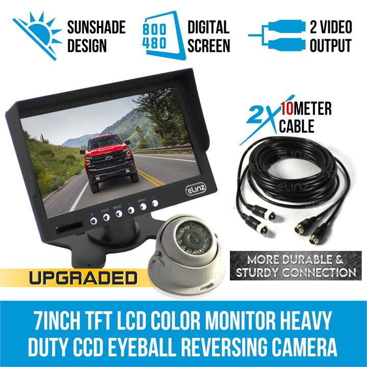 "Image of 7"" Monitor HD 12V/24V Reversing CCD Eyeball Camera Truck Caravan"