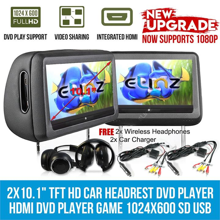 "Image of Headrest 2x 10.1"" HD Car Monitor Pillow HDMI 1080P DVD Player GAME 1024x600 IR FM SD USB 9"""