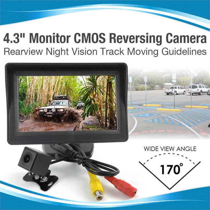 """Image of Elinz 4.3"""" Monitor CMOS Reversing Camera Rearview Night Vision Track Moving Guidelines"""