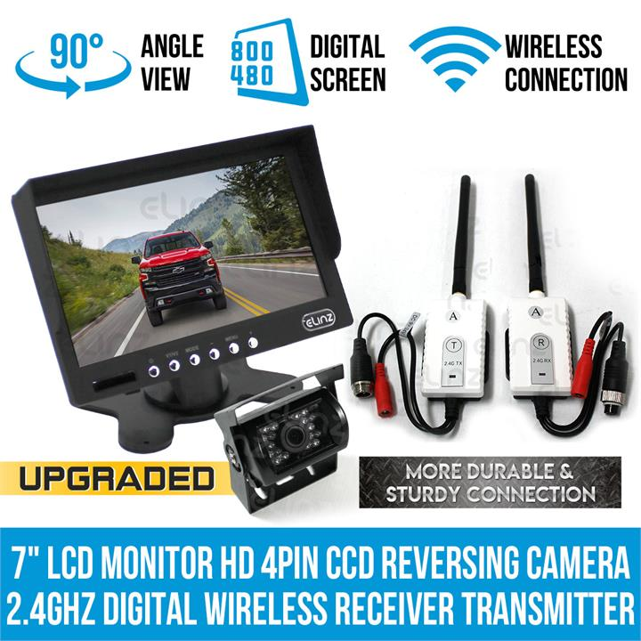 "Image of 7""LCD Monitor HD 4PIN CCD Reversing Camera Digital Wireless Receiver Transmitter"