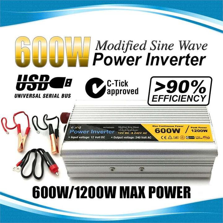 Image of 600W / 1200W 12V-240V Power INVERTER Modified Sine Wave Camping Caravan Boat