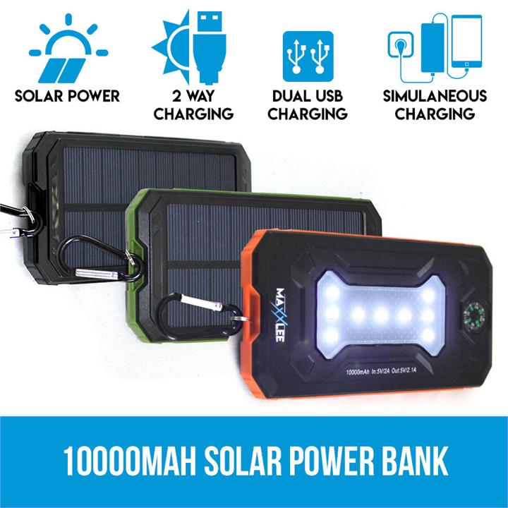 Image of 10000mAh Solar Power Bank Dual USB Battery Charger Portable Flashlight Compass