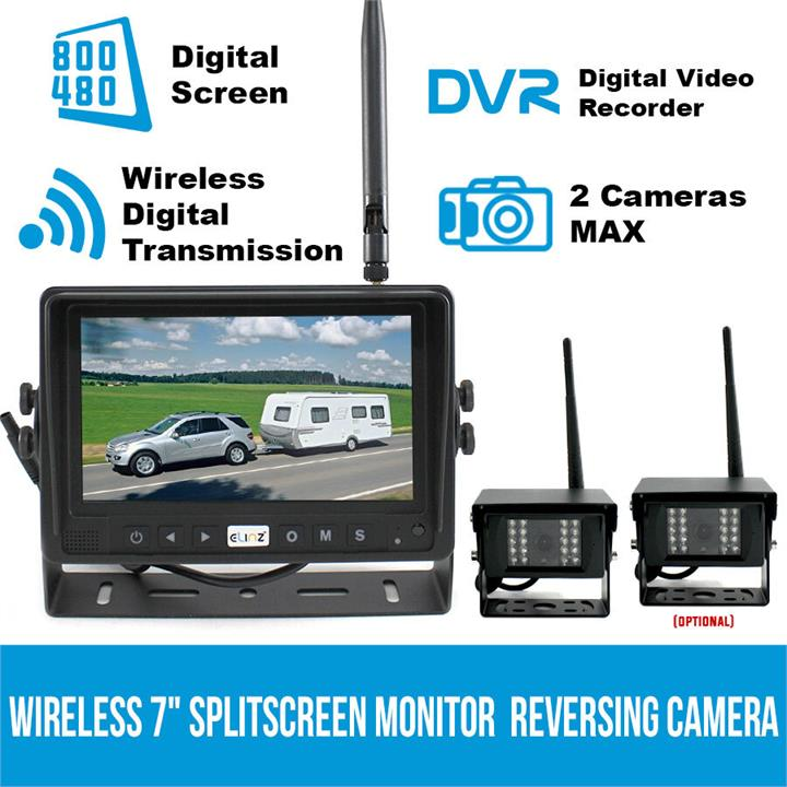 "Image of Digital Wireless 7"" Splitscreen Monitor DVR Reversing Camera CCD 12V 24V 2.4GHz"