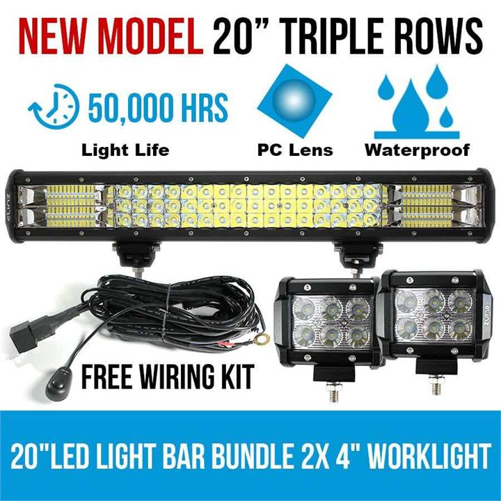 "Image of 20"" LED Light Bar Philips 3 Rows bundle 2x 18W 4 inch CREE Worklight Driving"