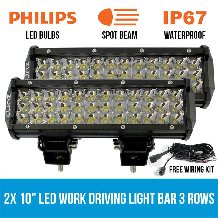 "Image of 2x 10"" LED Work Driving Light Bar Philips 3 Rows Spot Offroad 12V 24V Truck 4WD"