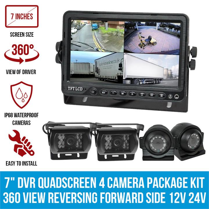 "Image of 7"" DVR Quadscreen 4 Camera Package Kit 360 View Reversing Forward Side 12V 24V Bus Truck Caravan"