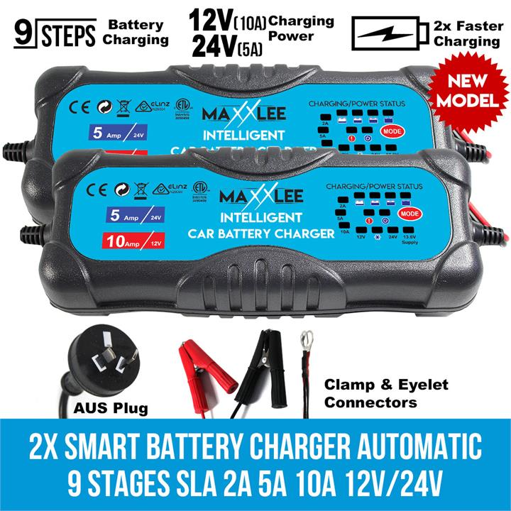 Image of 2x Smart Battery Charger Automatic 9 Stages SLA 2A 5A 10A 12V/24V Caravan 4WD
