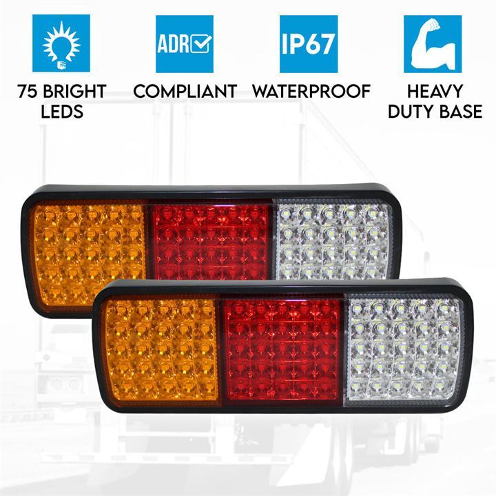 Image of 2x LED Trailer Light Reverse Indicator Brake Tail Lights Truck Caravan UTE 12V 75 LEDs