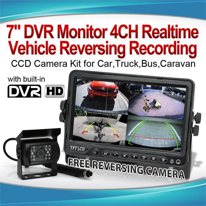 "Image of 7"" DVR Monitor 4CH Realtime Vehicle Reversing Recording CCD Camera Kit Truck Bus"