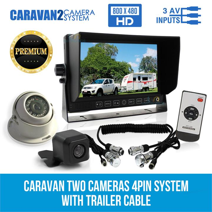 "Image of 7"" Monitor HD 12V/24V Reversing CCD 2 Camera 4PIN System Trailer Cable Caravan"