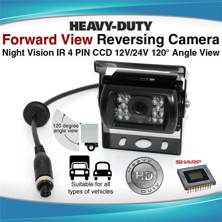 Image of 4PIN Heavy Duty 12/ 24V CCD IR Colour Reverse Reversing Camera Forward view 120 degree