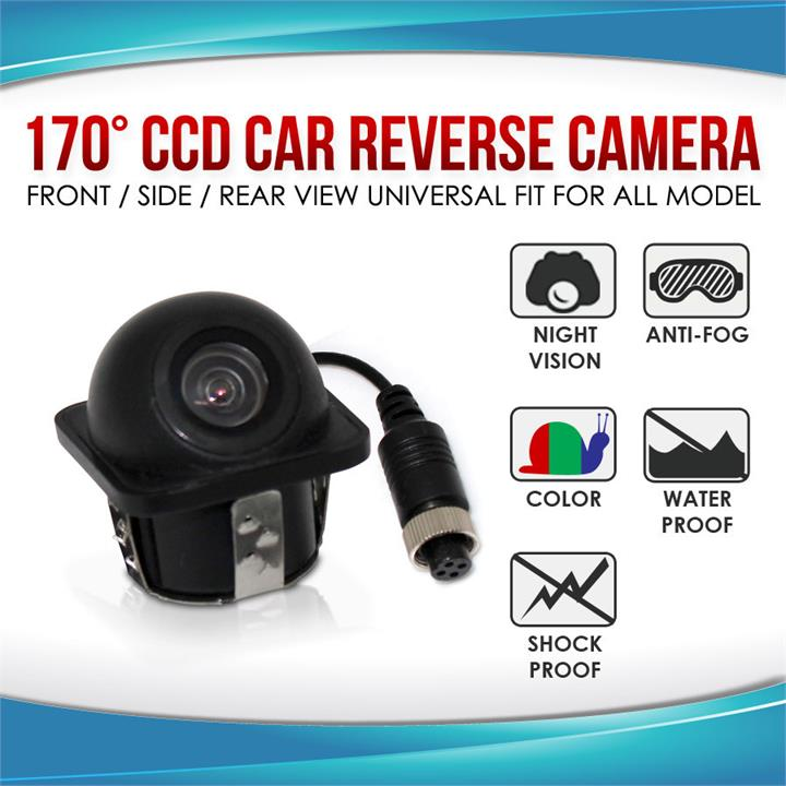 Image of 170 degree CCD Car Vehicle Side View Reverse Camera Universal Fit