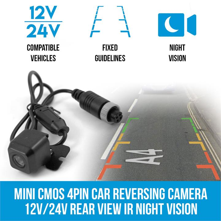 Image of Mini CMOS 4PIN Car Reversing Camera Rear View IR Night Vision 12V/24V