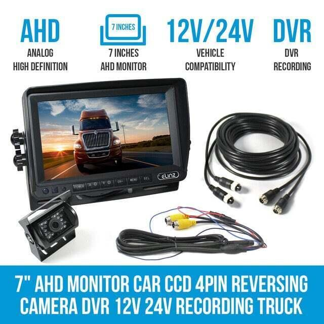"Image of 7"" AHD Monitor Car CCD 4PIN Reversing Camera DVR 12V 24V Recording Truck Caravan"