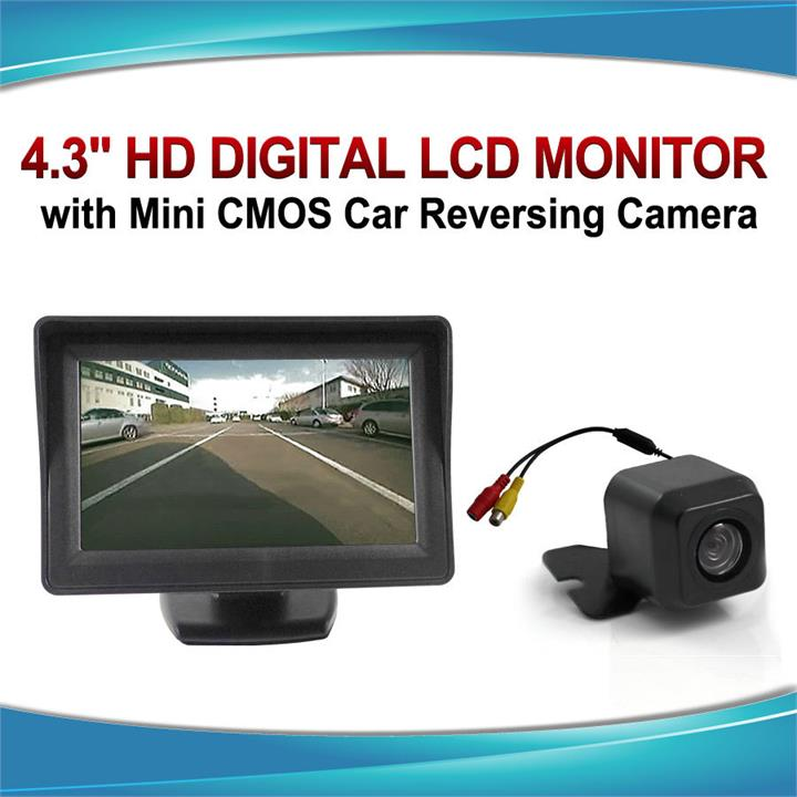 "Image of 4.3"" Monitor + 12v Reversing Camera Kit Car Caravan LCD Rearview IR Night Vision"