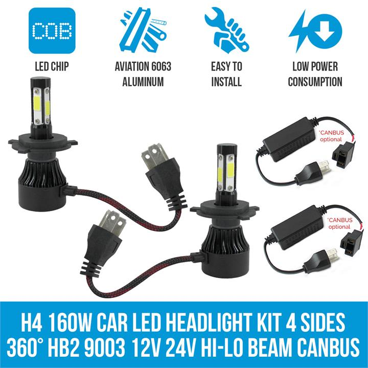Image of H4 160W Car LED Headlight Kit 4 sides 360 HB2 9003 12V 24V Hi-Lo Beam Canbus