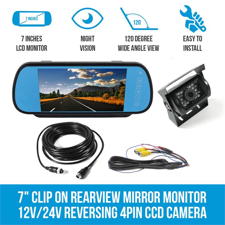 "Image of 7"" Clip on Rearview Mirror Monitor 12V/24V Reversing 4PIN CCD Camera Car Caravan"