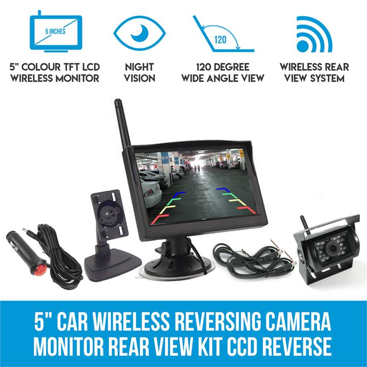 "Image of 5"" Car Wireless Reversing Camera Monitor Rear View Kit CCD Reverse 12V 24V"