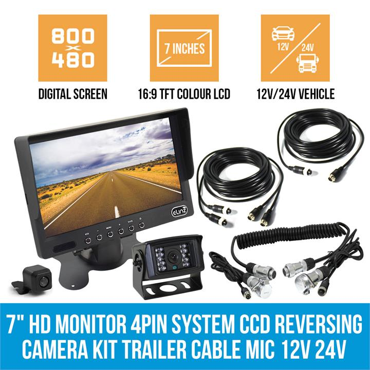 "Image of 7"" HD Monitor 4PIN System CCD Reversing Camera Kit Trailer Cable MIC 12V 24V"