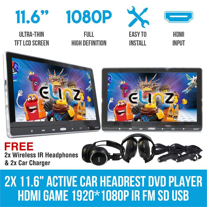 "Image of 2x 11.6"" Active Car Headrest DVD Player HDMI GAME 1920*1080P IR FM SD USB 9"""