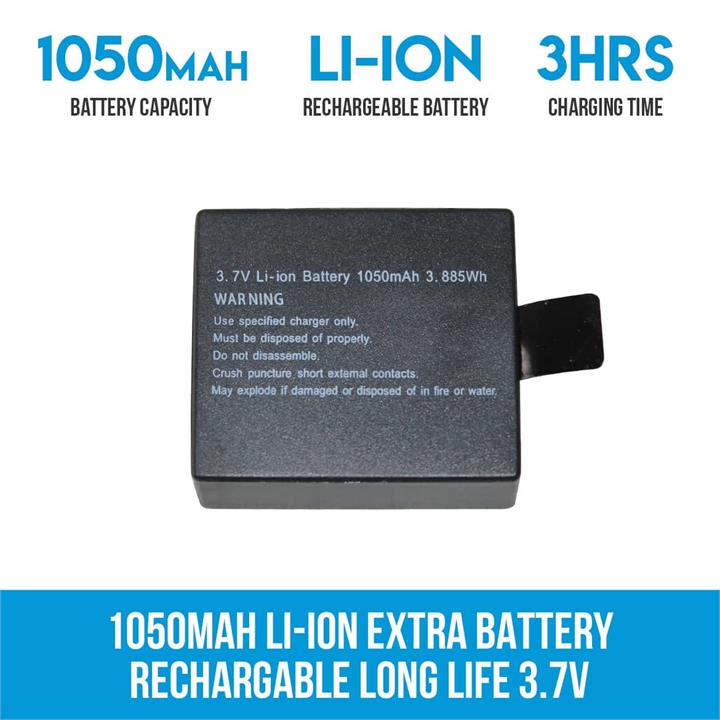 Image of 1050mAH Li-ion Extra Battery Rechargable Long Life 3.7V Sports Action Camera 4K
