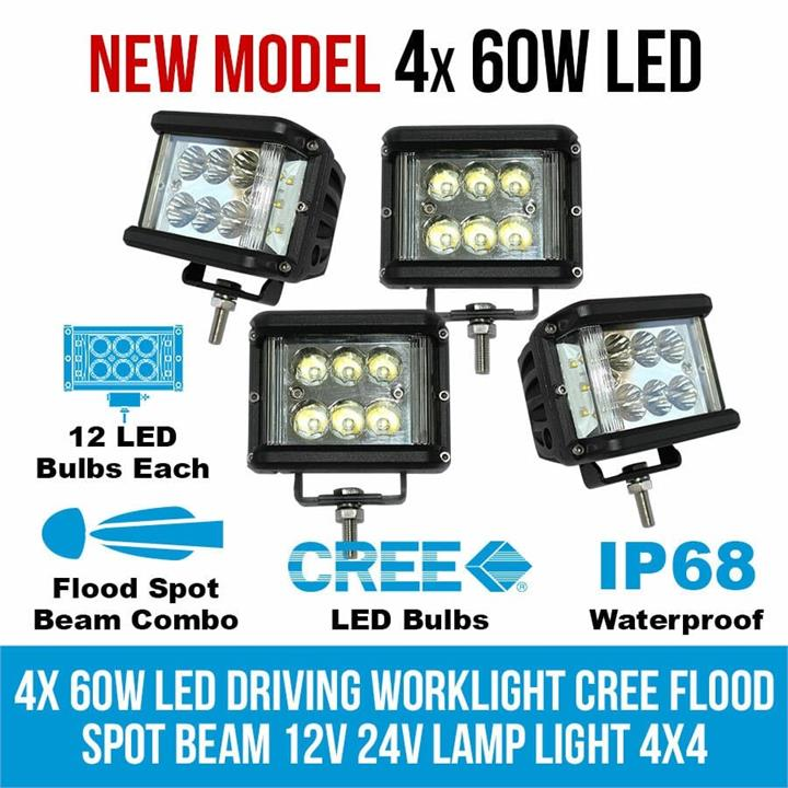 Image of 4x 60W LED Driving WorkLight CREE Flood Spot Beam 12V 24V Lamp Light 4x4 Offroad