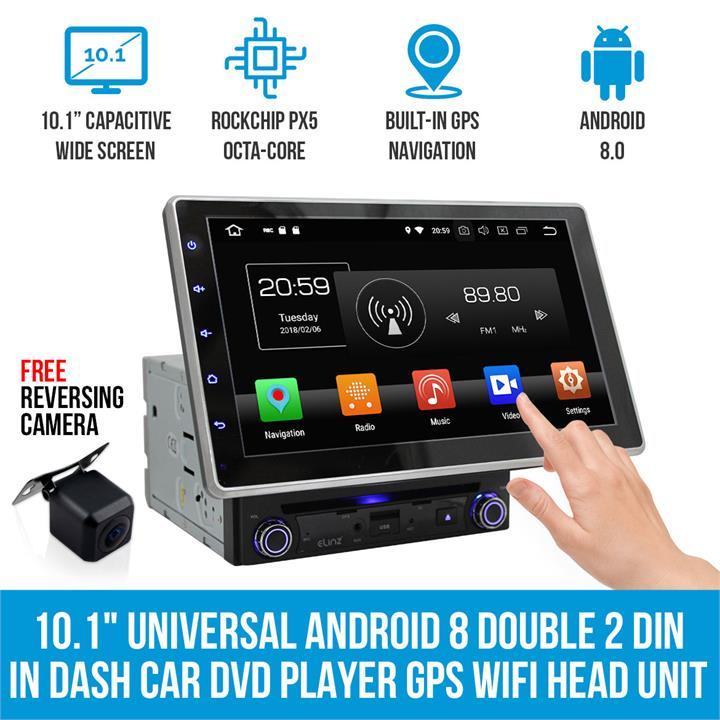 "Image of 10.1"" In Dash Car DVD Player Universal Android 8 Double 2 DIN GPS WiFi BT Head Unit"