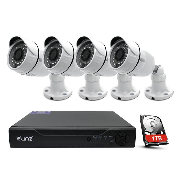 Image of Elinz 4CH CCTV Security 4x Camera System 1080P AHD 5MP DVR Face Detection Outdoor Video 1TB Hard Drive